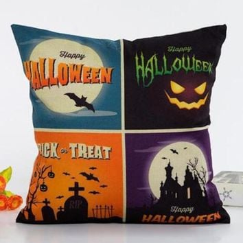 Mayitr Halloween Series Cushion Cover Pumpkin Cat Ghost Pattern Square Pillow Cover Throw Pillow Case for Home Sofa Decoration