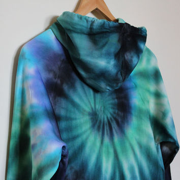 American Apparel Tie Dye Hoodie Black/Blue/Green Spiral
