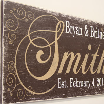 Personalized Name Wood Sign Custom Name Sign Wedding Gift Bridal Shower Gift Housewarming Gift Rustic Wood Sign Distressed Wood Handmade