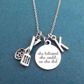 Personalized, Letter, Initial, She believed, She could..., So she did, Cookware, Tongs, Silver, Necklace, Gift, Jewelry