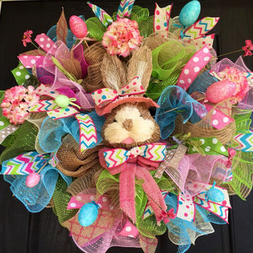 Easter deco mesh wreath, Spring deco mesh wreath, bunny deco mesh wreath, deco mesh wreath, spring mesh wreath, Spring burlap wreath,