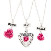 Mother and Daughters Sculpted Roses and Locket Pendant Necklaces Set of 3 | Claire's