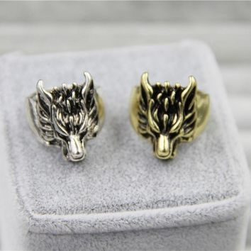 2018 Fashion Jewely Vintage Charm Wolf Head Ring For Men