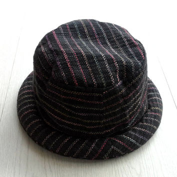 Hippie Men Women Bucket Hat, Pork pie with rolled-brim, Hand woven cotton hat, Gift for men