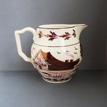 English Hand Painted Pitcher, Vintage Purple Gold Luster Creamer, Gray's Pottery Paris Jug