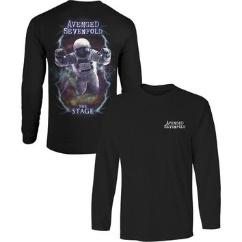 Avenged Sevenfold Men's  AVS Logo Spaceman Mens Longsleeve  Long Sleeve Black