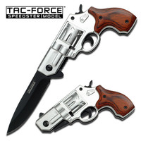 .38 SPECIAL REVOLVER STYLE SPRING ASSISTED KNIFE - SILVER & PAKKAWOOD HANDLE