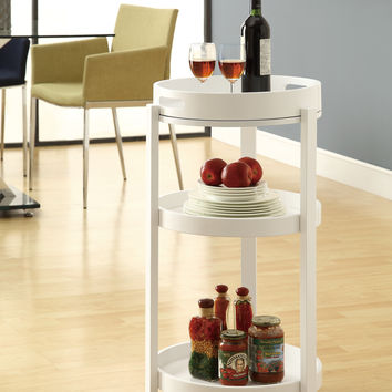 Home Bar - White Cart With A Serving Tray On Castors