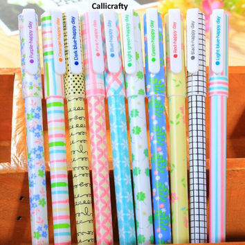 10 pen Korean Floral Pen Set, Gel Ink Pen Set, Kawaii Pen Set, Korean Stationery - PEN004