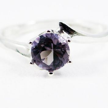 Alexandrite Bypass Solitaire Ring 925 Sterling Silver