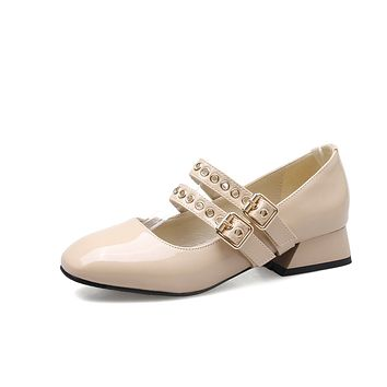 Buckle Mary Janes Mid Heel Pumps Shoes for Women 1834