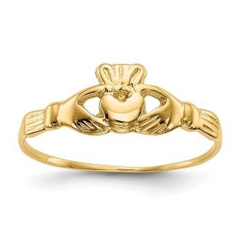 14k Yellow Gold Childs Polished Claddagh Ring