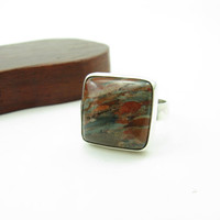 Jasper Earth Stone Ring Sterling Silver Handmade Jasper Gemstone Ring Size 9 Nature Always Wears the Colors of the Spirit Hand stamped Ring