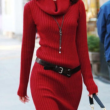 Red Turtle Neck Long Sleeve Knitted Dress