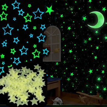 Set 6 Colors Glow star moon Wall Stickers for kids rooms Decal Baby Bedroom Home Decor Color Stars Luminous Fluorescent