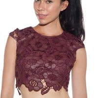 Dance Hall Divine Faux Leather Floral Crop Top - Burgundy