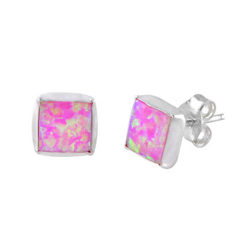 7mm Pink Square Opal Gemstone Earrings Studs Sterling Silver