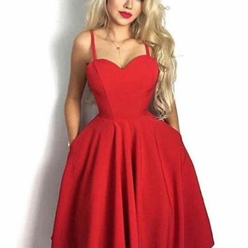 Cute Sweetheart Neck Red Short Prom Dresses, Red Homecoming Dresses