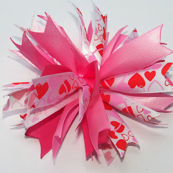 Hearts Spiked Puff Hair Bow, Hair Accessories for Girls