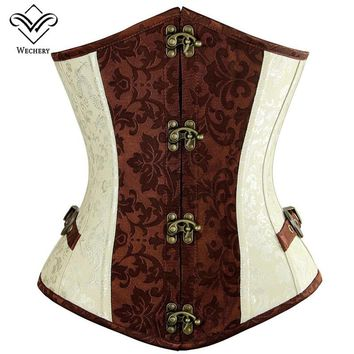 Wechery Steampunk Vintage Corset  Gothic Clothing Corsets Women Bustiers Tops Lace up Stud buckle Retro Sexy korset Corsage
