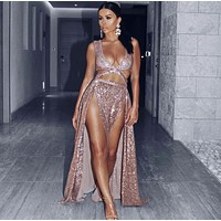 Mia Sequin Gown Rose Gold Luxury Maxi dress