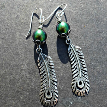 Peacock sterling silver earrings. Silver peacock feather charms, Swarovski  pearls, sterling silver ear wires.