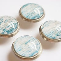 Teal Blue Ocean Glass Knobs- Brass or Brushed Nickel