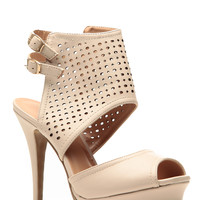 Glaze Nude Cut Out Double Sling Heels