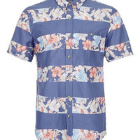 BLUE HORIZONTAL FLORAL STRIPE SHORT SLEEVE SHIRT