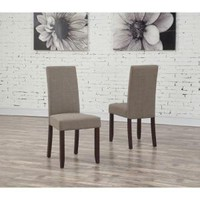 Simpli Home Acadian Linen Look Fabric Parson Chair in Light Mocha (2-Pack) WS5113-4-LML at The Home Depot - Mobile