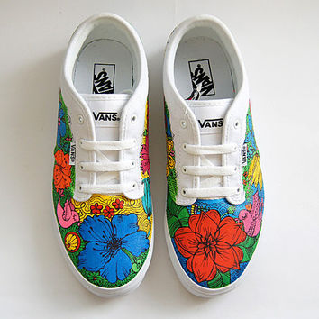 Custom Vans Atwood Shoes - White Sneakers with Colorful Flowers
