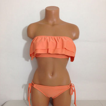 Melon ruffle bandeau swimsuit