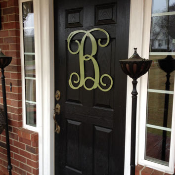 Monogram wreath, Spring door decor, large metal letters, monogram door hanger,wedding gift, anniversary gift, outdoor wreath, front door