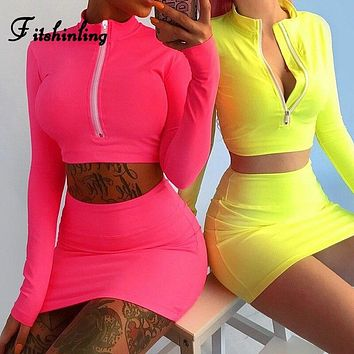 Fitshinling Fluorescence neon tracksuit for women zipper up fitness women's sets athleisure sexy crop top skirts two pieces set