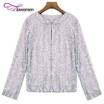 Flowomen Sequin Jacket Coat Women Bomber Jacket Basic Long Sleeve Streetwear Jacket Casual Coat Female Elastic Winter Outerwear