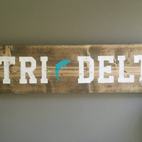 FREE SHIPPING handmade Tri Delta wood sign outline dolphin sorority ΔΔΔ
