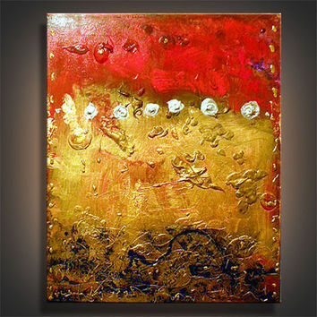 art painting original abstract gold red palette knife painting textured metallic abstract painting steampunk 16 x 20