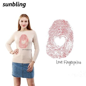 Sunbling Patches Heart Fingerprint Shape 3D Printed Patch Transfer Iron On T-shirt Sweater Women Clothes Patch Washable Sticker