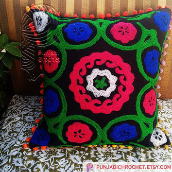 """Suzani Cushion Covers Uzbekistan Style Handmade Wool Embroidered Accent Cotton Cases Christmas Home Decor Indian Interior Decor Gift 16x16"""""""