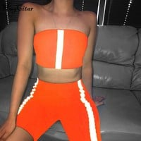 Hugcitar reflective stripes patchwork sexy tank top shorts 2 pieces set 2019 summer women fashion club party casual streetwear