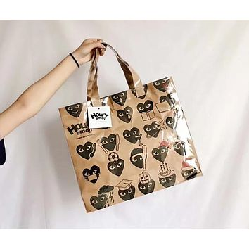 """Comme Des Garçon Play"" New Popular Women Men Shopping Bag Plastic Handbag Tote Shoulder Bag I13201-1"