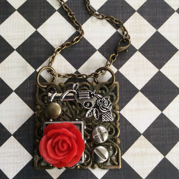 Guns And Roses Pendant  Necklace