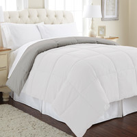 Down alternative reversible Comforter White/Gray Queen