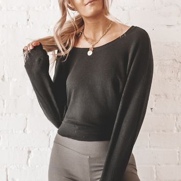 JOAH BROWN Black Slouchy Dolman Long Sleeve Top