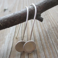 Silver Bowl Drop Earrings, Silver Circle Dangles