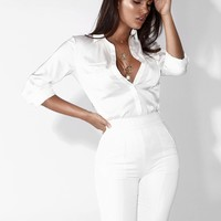 White In the City Silky Blouse