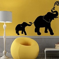 Wall Decor Vinyl Decal Sticker Animals Elephant Family Mom with Baby Kids Room Nursery Ideas Living Room Home Interior Design Kg678