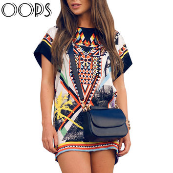 OOPS Women Vintage Tribal Shift Dresses  Summer Street Boho Baroque Print Short Sleeve Casual Mini Dress Vestido B1603006