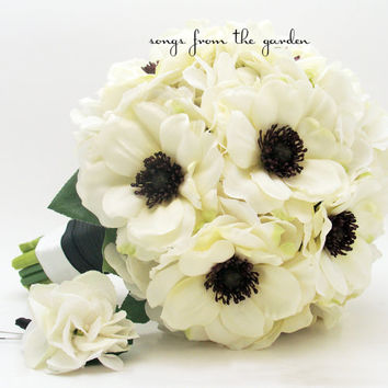 White Anemone Black Center Wedding Bouquet White Silk Hydrangea Groom Boutonniere - Silk Flower Black and White Wedding Bouquet