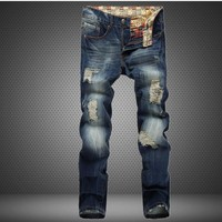 Ripped Holes Men Jeans Slim Rinsed Denim Jeans [6541739395]